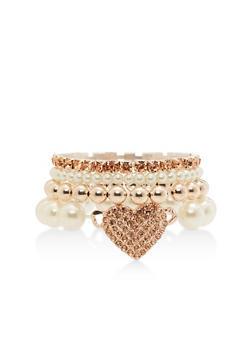 Faux Pearl Rhinestone Heart Bracelet Set - 3138071212384