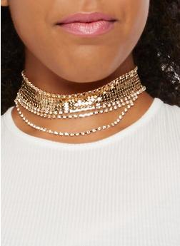 Rhinestone Mesh Choker Necklace - 3138071216016