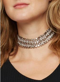 Studded Rhinestone Choker Necklace - 3138071216120