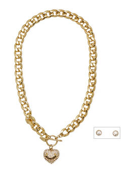 Collar Necklace with Heart Charm and Stud Earrings - 3138071431050