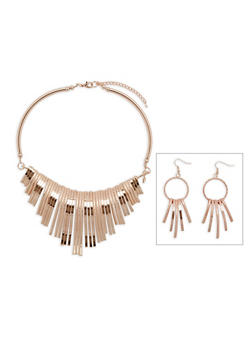 Metal Fringe Collar Necklace with Matching Earrings - 3138071431150