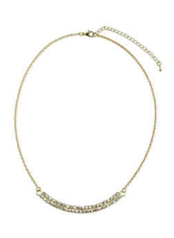 Necklace with Crystal Semi Circle - 3138071433501