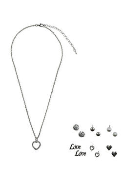 Set of 6 Assorted Love Stud Earrings with Heart Necklace - 3138071433509