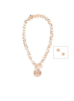 Love Charm Necklace with Stud Earrings - 3138071434101