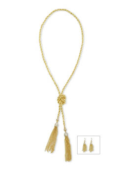 Tassel Drop Earrings and Twisted Necklace Set - 3138071435022