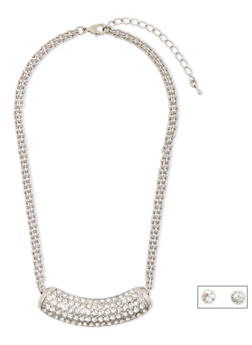 Rhinestone Crescent Necklace and Earrings Set - 3138071435025