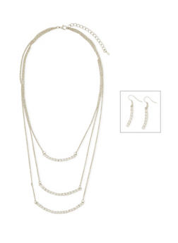 Tiered Crystal Necklace and Earrings Set - 3138071435045