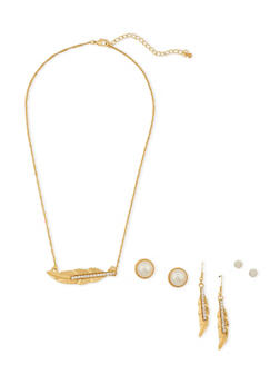 Necklace and 3 Stud Earrings Set - 3138071435053