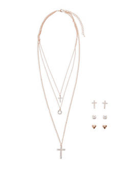 Layered Charm Necklace with Stud Earrings - 3138071435177