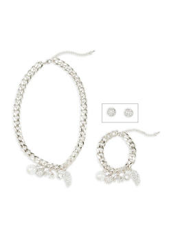Rhinestone and Faux Pearl Matching Charm Necklace and Bracelet with Stud Earrings - 3138071435511