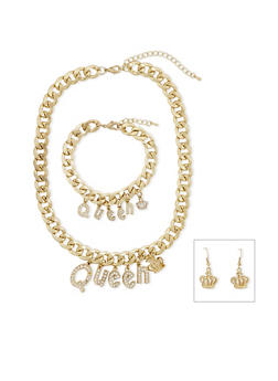 Crystal Queen Necklace with Bracelet and Earrings Set - 3138071435564