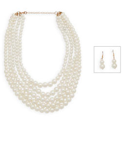 Faux Pearl Layered Necklace and Earrings - 3138072370381