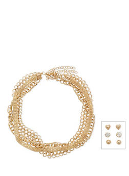 Set of 6 Assorted Chain Necklaces and Stud Earrings - 3138072370484