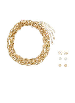 Set of 3 Necklaces and 3 Stud Earrings - 3138072370485