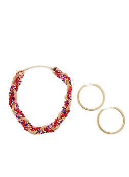 Beaded Braided Necklace and Hoop Earrings Set - 3138072373096