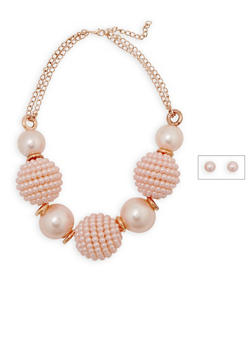 Large Faux Pearl Beaded Necklace and Earrings - 3138072373097