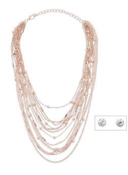 Beaded Metallic Layered Necklace with Stud Earrings - 3138072373125