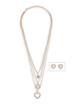 Rhinestone Heart Layered Necklace and Stud Earrings - 3138072373138