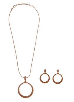 Rhinestone Paved Circle Necklace and Drop Earring Set - 3138072373139