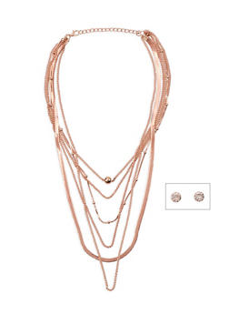 Layered Cobra Necklace and Rhinestone Earrings - 3138072373140