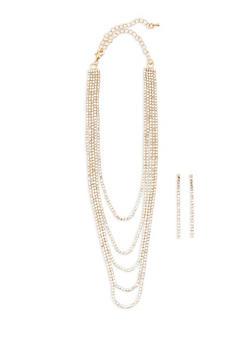 Rhinestone Layered Choker and Earrings - 3138072373147