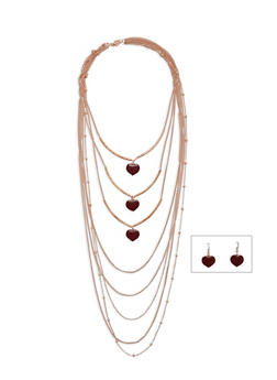 8 Layer Heart Necklace with Matching Earrings Set - 3138072373181