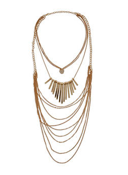 Metal Bar Layered Necklace with Rhinestone Heart Detail - 3138072373184