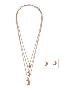 Rhinestone Moon Necklace and Stud Earrings - 3138072373333