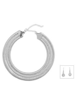 Triple Coil Necklace with Rhinestone Earrings Set - 3138072375250