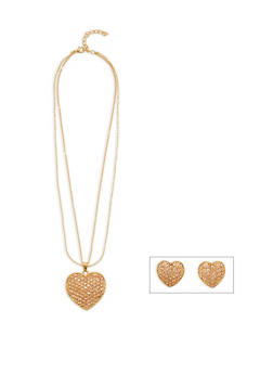 Large Rhinestone Heart Necklace and Stud Earrings Set - 3138072378313