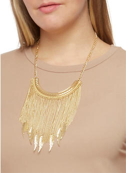 Chain Fringe Necklace with Etched Leaf Earrings Set - 3138072691499
