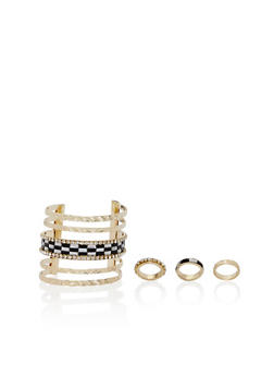Embellished Cuff and 3 Ring Set - 3138072691599