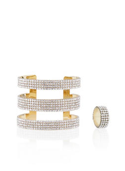 Crystal Covered Cuff and Ring Set - 3138072691601