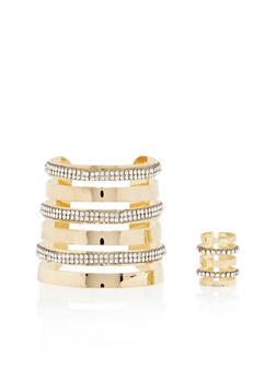 Matching Cutout Cuff and Long Ring with Rhinestones - 3138072691608
