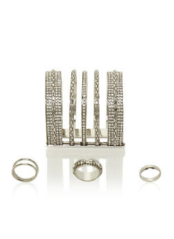 Set of 3 Rhinestone Rings and Long Cuff Bracelet - 3138072691749