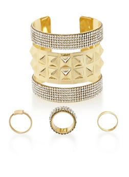 3 Rings and Crystal Stud Cuff Set - 3138072691750