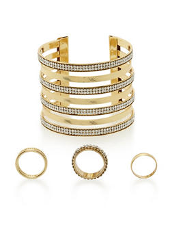 Multi Band Cuff and 3 Ring Set - 3138072691751