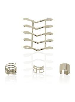 Lasercut Rings and Cuff Set with Studs - 3138072691755