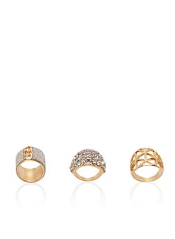 Set of 3 Rings with Glitter and Crystal Accents - 3138072691983