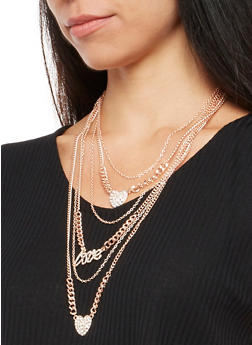 Love Rhinestone Layered Necklace and Stud Earrings - 3138072693512