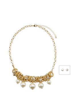 Stud Earrings and Necklace Set with Mesh and Faux Pearl Charms - 3138072693637