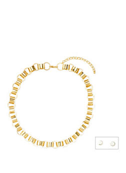 Loop Chain Necklace with Crystal Studs - 3138072693919