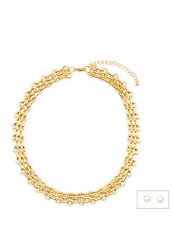 Rhinestone Stud Earrings and Chainlink Necklace Set - 3138072693923