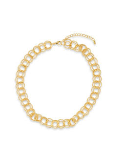 Textural Chain Link Necklace and Stud Earrings Set - 3138072693924