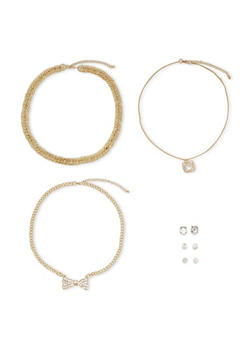 Set of 3 Necklaces and 3 Stud Earrings - 3138072693927