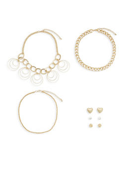 Set of 3 Necklaces and 3 Stud Earrings - 3138072693928