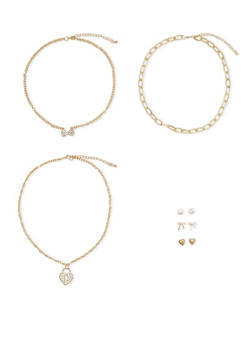 Set of 3 Necklaces and 3 Stud Earrings - 3138072693929