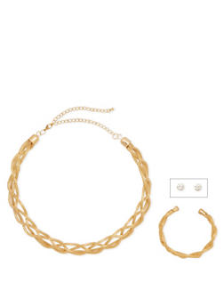 3 Piece Jewelry Set in Braided Metal - 3138072694176