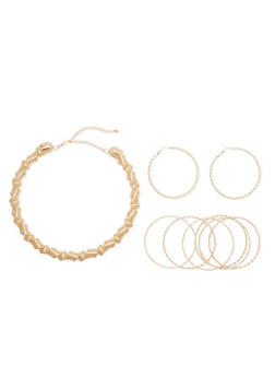 Collar Necklace with Hoop Earrings and 6 Bangles - 3138072694189