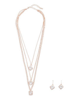 Layered Caged Necklace with Earrings - 3138072694354